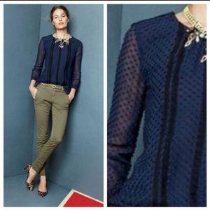 J CREW Silk Blue Swiss Dot long sleeve top sz 2